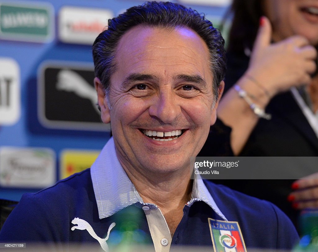 Head coach Italy <a gi-track='captionPersonalityLinkClicked' href=/galleries/search?phrase=Cesare+Prandelli&family=editorial&specificpeople=742442 ng-click='$event.stopPropagation()'>Cesare Prandelli</a> during press conference at Coverciano on May 20, 2014 in Florence, Italy.