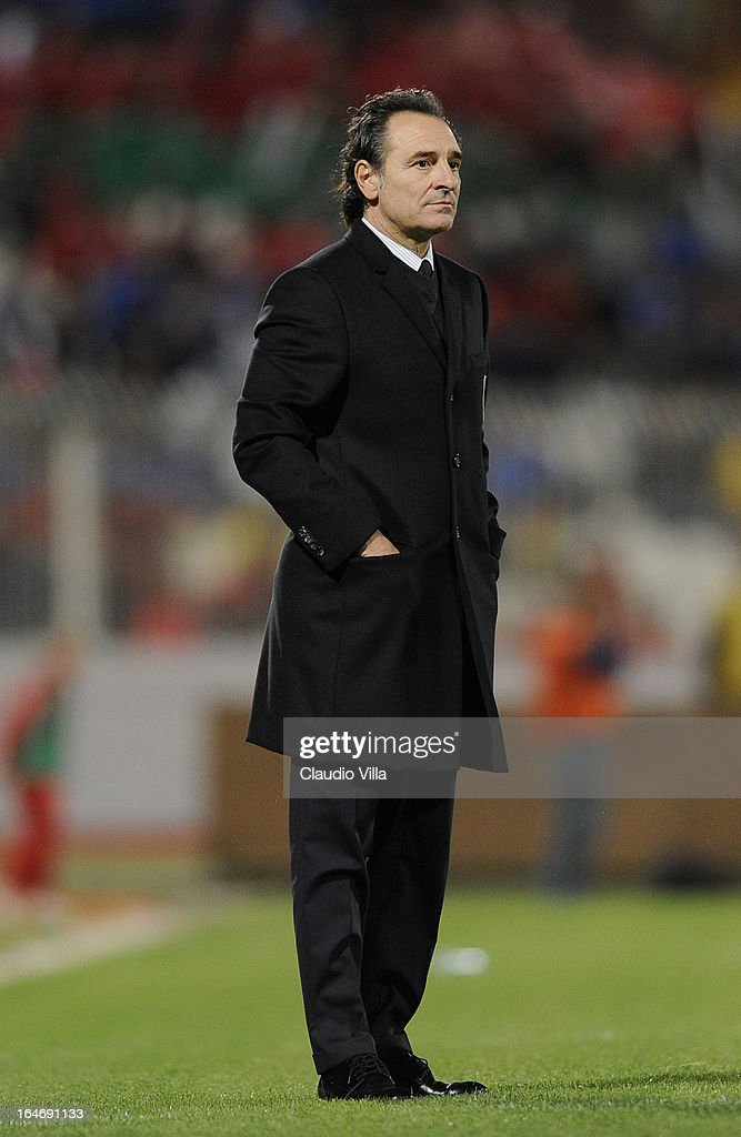 Head coach Italy <a gi-track='captionPersonalityLinkClicked' href=/galleries/search?phrase=Cesare+Prandelli&family=editorial&specificpeople=742442 ng-click='$event.stopPropagation()'>Cesare Prandelli</a> during the FIFA 2014 World Cup qualifier match between Malta and Italy at Ta Qali Stadium on March 26, 2013 in Malta, Malta.