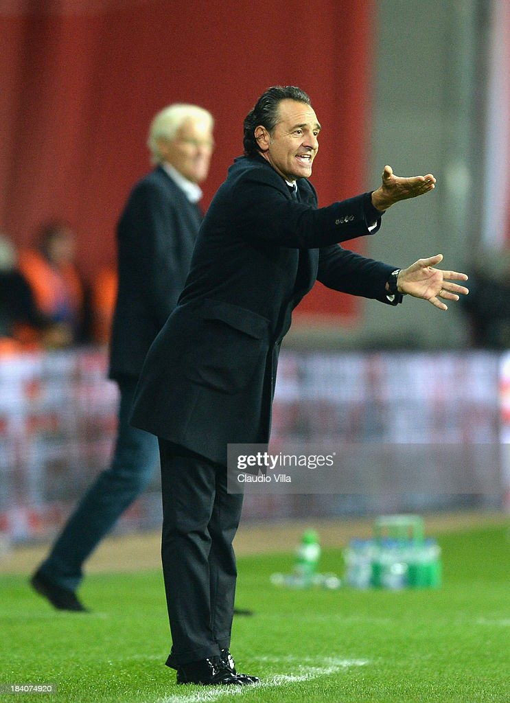 Head coach Italy <a gi-track='captionPersonalityLinkClicked' href=/galleries/search?phrase=Cesare+Prandelli&family=editorial&specificpeople=742442 ng-click='$event.stopPropagation()'>Cesare Prandelli</a> reacts during the FIFA 2014 world cup qualifier between Denmark and Italy on October 11, 2013 in Copenhagen, Denmark.