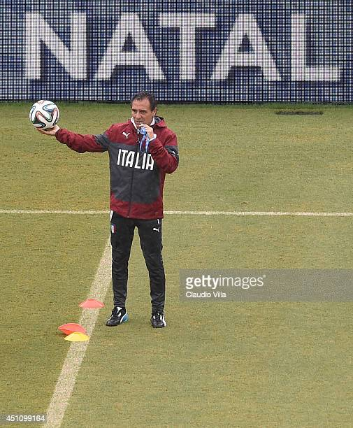 Head coach Italy Cesare Prandelli reacts during training session at the Dunas Arena in Natal on June 23 2014 in Natal Brazil