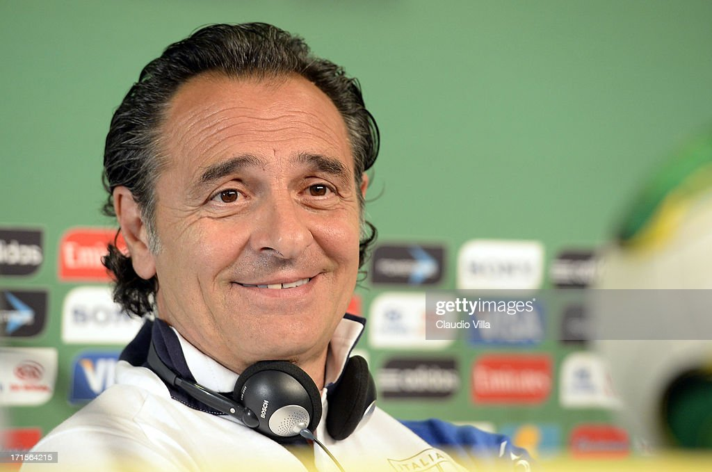Head coach Italy <a gi-track='captionPersonalityLinkClicked' href=/galleries/search?phrase=Cesare+Prandelli&family=editorial&specificpeople=742442 ng-click='$event.stopPropagation()'>Cesare Prandelli</a> smiles during a press conference, ahead of their FIFA Confederations Cup Brazil 2013 semi-final game against Spain, on June 26, 2013 in Fortaleza, Brazil.