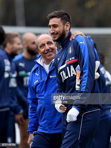 Head coach Italy Giampiero Ventura and Gianluigi Donnarumma chat during the training session at the club's training ground at Milanello on November...