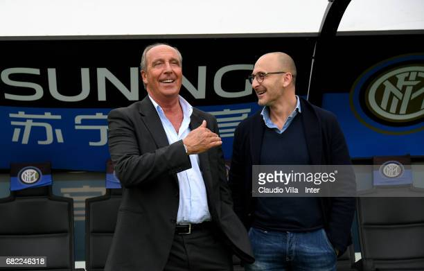 Head coach Italy Gian Piero Ventura and Sporting Director FC Internazionale Piero Ausilio chat during FC Internazionale training session at Suning...