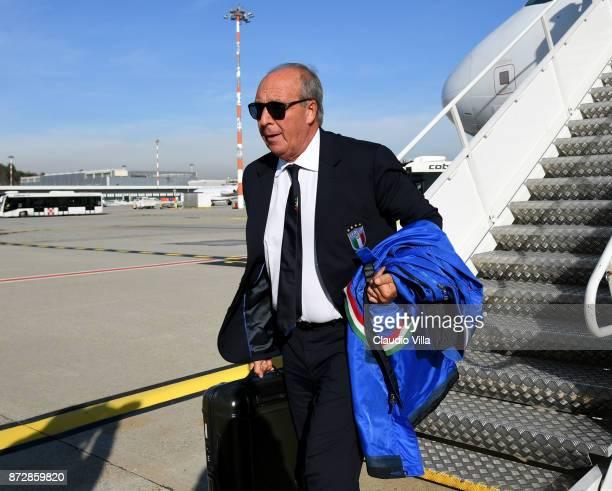 Head coach Italy Gian Piero Ventura arrives at Malpensa airport on November 11 2017 in Milan Italy