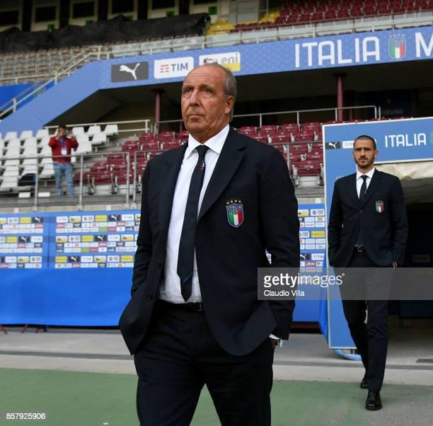 Head coach Italy Gian Piero Ventura looks on during Italy pitch inspection at Allianz Stadium on October 5 2017 in Turin Italy