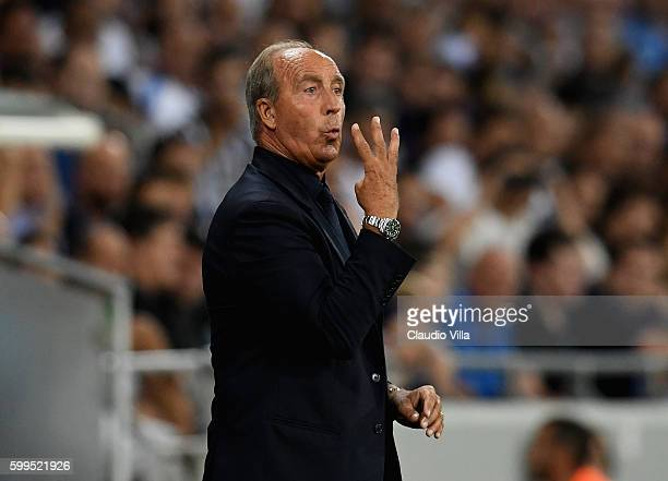 Head coach Italy Gian Piero Ventura reacts during the FIFA 2018 World Cup Qualifier between Israel and Italy at Itztadion Sammy Ofer on September 5...