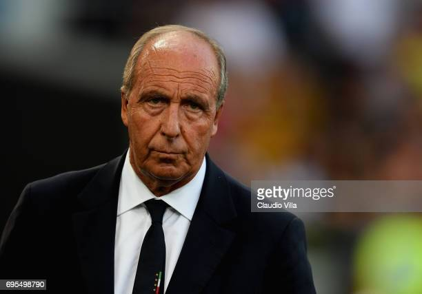 Head coach Italy Gian Piero Ventura reacts during the FIFA 2018 World Cup Qualifier between Italy and Liechtenstein at Stadio Friuli on June 11 2017...
