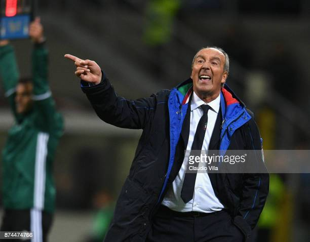Head coach Italy Gian Piero Ventura reacts during the FIFA 2018 World Cup Qualifier PlayOff Second Leg between Italy and Sweden at San Siro Stadium...