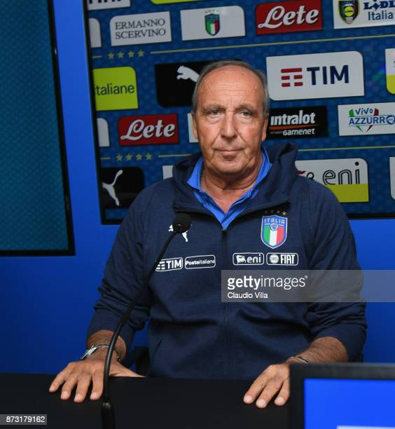 Head coach Italy Gian Piero Ventura speaks with the media during the Italy press conference at Appiano Gentile on November 12 2017 in Como Italy