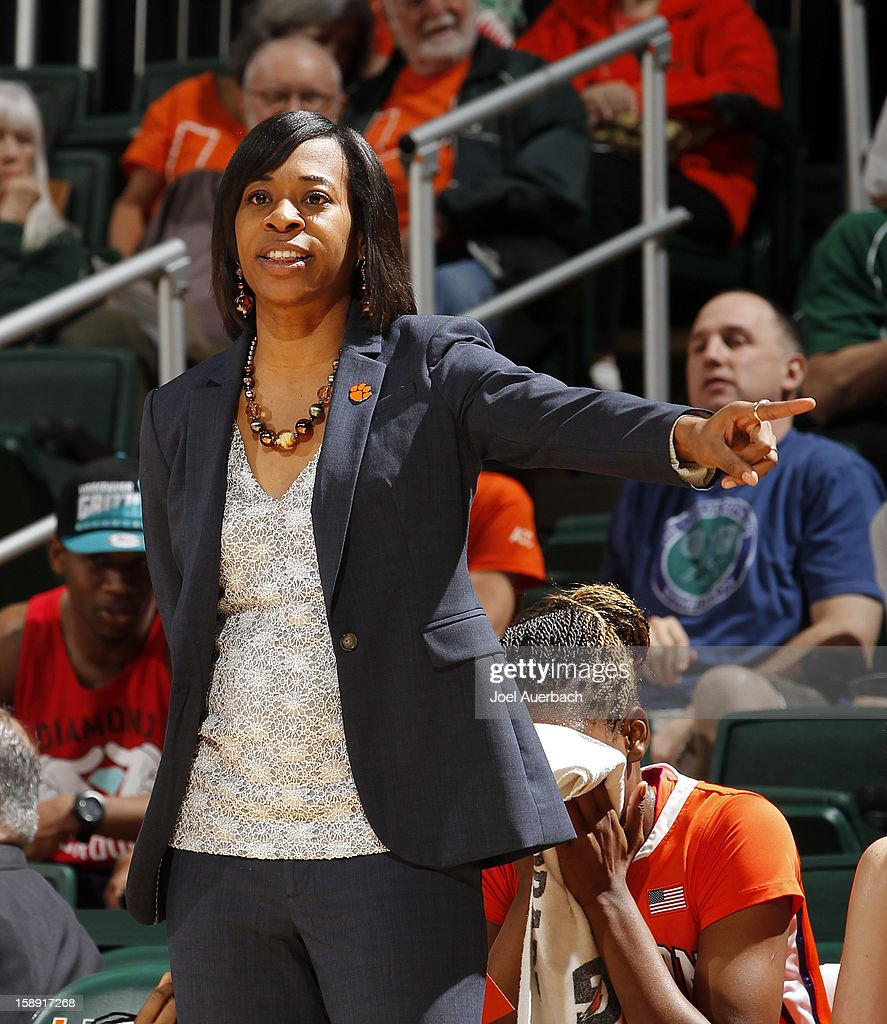 Head coach Itoro Coleman of the Clemson Lady Tigers reacts to first half action against the Miami Hurricanes on January 3, 2013 at the BankUnited Center in Coral Gables, Florida.