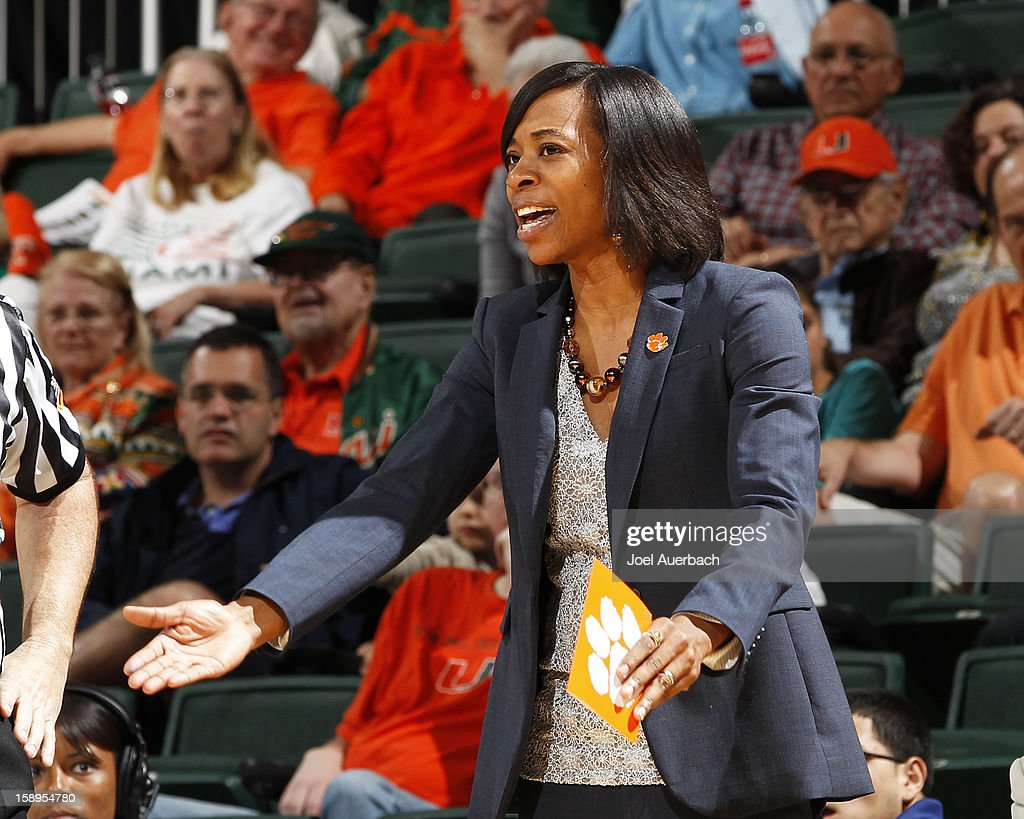 Head coach Itoro Coleman of the Clemson Lady Tigers reacts to game action against the Miami Hurricanes on January 3, 2013 at the BankUnited Center in Coral Gables, Florida. Miami defeated Clemson 78-56.
