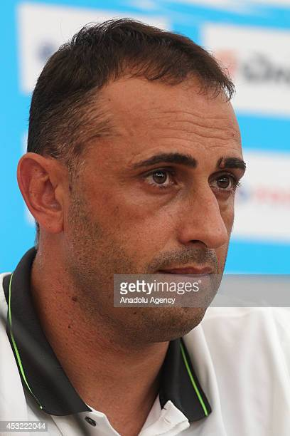 Head Coach Ivaylo Petev of AEL Limassol speaks during a press conference after the team's training session on August 5 2014 in Saint Petersburg...