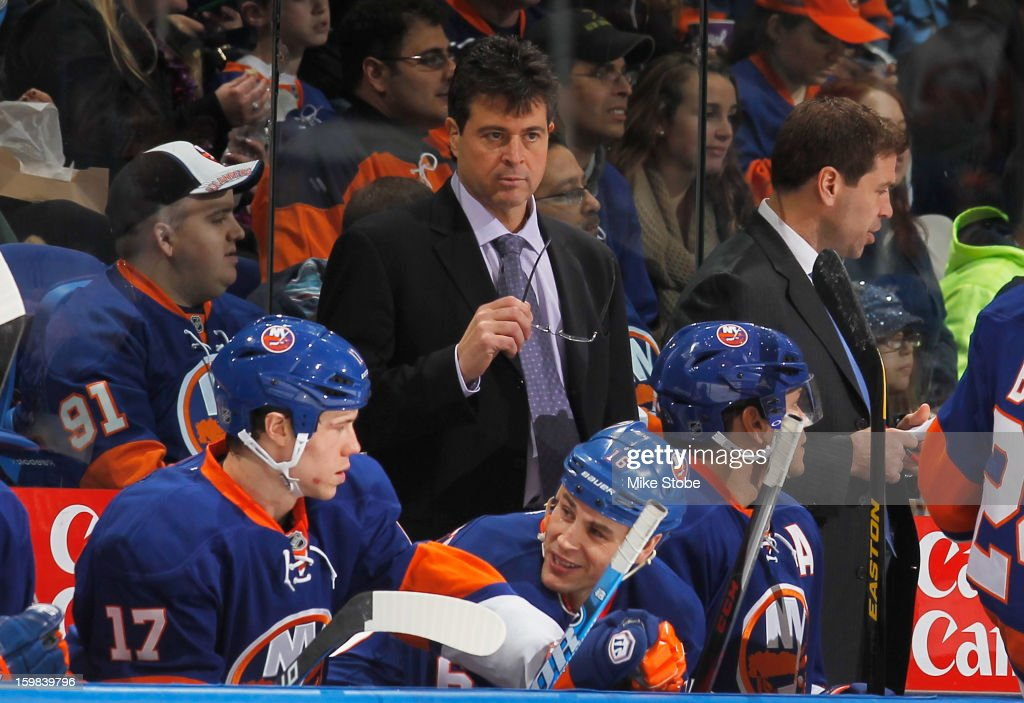 Head Coach Jack Capuano looks on during the game between the New York Islanders and the Tampa Bay Lightning at Nassau Veterans Memorial Coliseum on January 21, 2013 in Uniondale, New York.