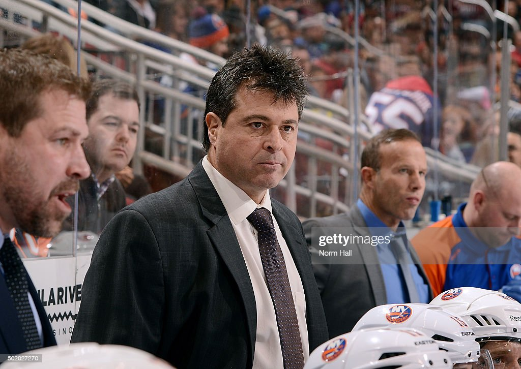 Head coach Jack Capuano of the New York Islanders looks on from the bench during third period action against the Arizona Coyotes at Gila River Arena...