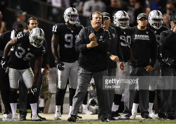 Head coach Jack Del Rio of the Oakland Raiders is seen on the sideline during the game against the Denver Broncos at OaklandAlameda County Coliseum...