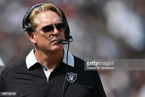 Head coach Jack Del Rio of the Oakland Raiders looks on during the first half of their NFL game against the Cincinnati Bengals at Oco Coliseum on...