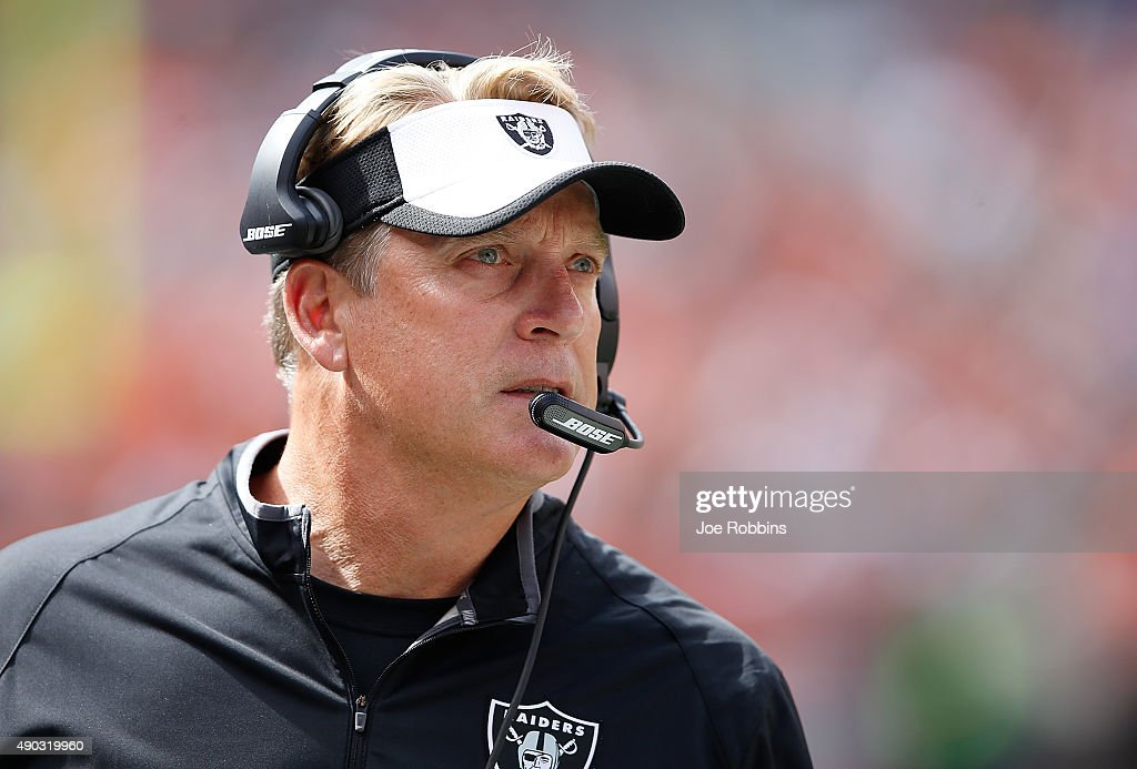 Head coach <a gi-track='captionPersonalityLinkClicked' href=/galleries/search?phrase=Jack+Del+Rio&family=editorial&specificpeople=184508 ng-click='$event.stopPropagation()'>Jack Del Rio</a> of the Oakland Raiders looks on during the second quarter against the Cleveland Browns at FirstEnergy Stadium on September 27, 2015 in Cleveland, Ohio.