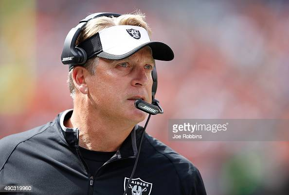Head coach Jack Del Rio of the Oakland Raiders looks on during the second quarter against the Cleveland Browns at FirstEnergy Stadium on September 27...