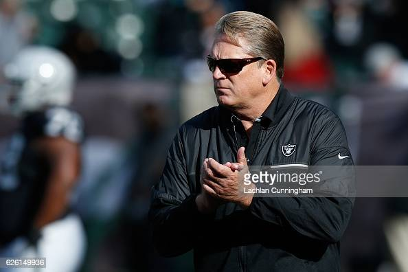 Head coach Jack Del Rio of the Oakland Raiders looks on during warm ups prior to their NFL game against the Carolina Panthers on November 27 2016 in...