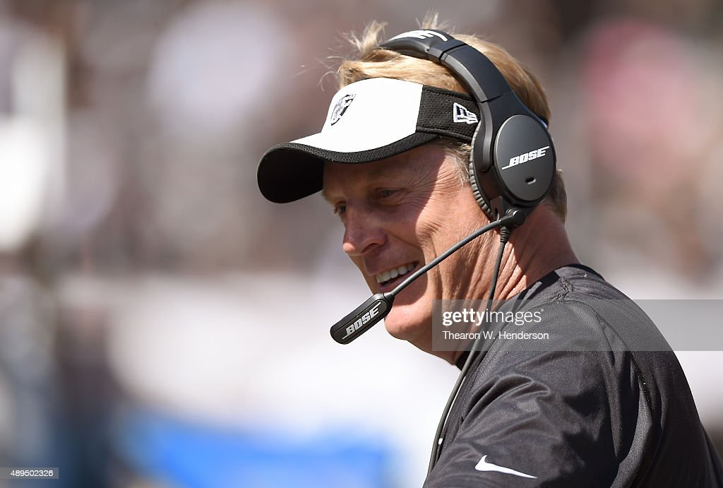 Head coach <a gi-track='captionPersonalityLinkClicked' href=/galleries/search?phrase=Jack+Del+Rio&family=editorial&specificpeople=184508 ng-click='$event.stopPropagation()'>Jack Del Rio</a> of the Oakland Raiders looks on from the sidelines against the Baltimore Ravens at the O.co Coliseum on September 20, 2015 in Oakland, California.