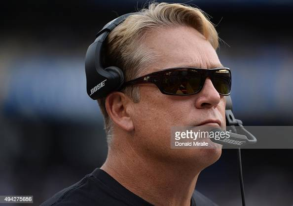 Head coach Jack Del Rio # of the Oakland Raiders looks on from the sidelines against the San Diego Chargers during an NFL game at Qualcomm Stadium on...