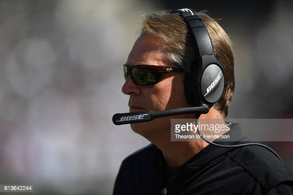 Head coach Jack Del Rio of the Oakland Raiders looks on from the sideline against the San Diego Chargers during their NFL game at OaklandAlameda...