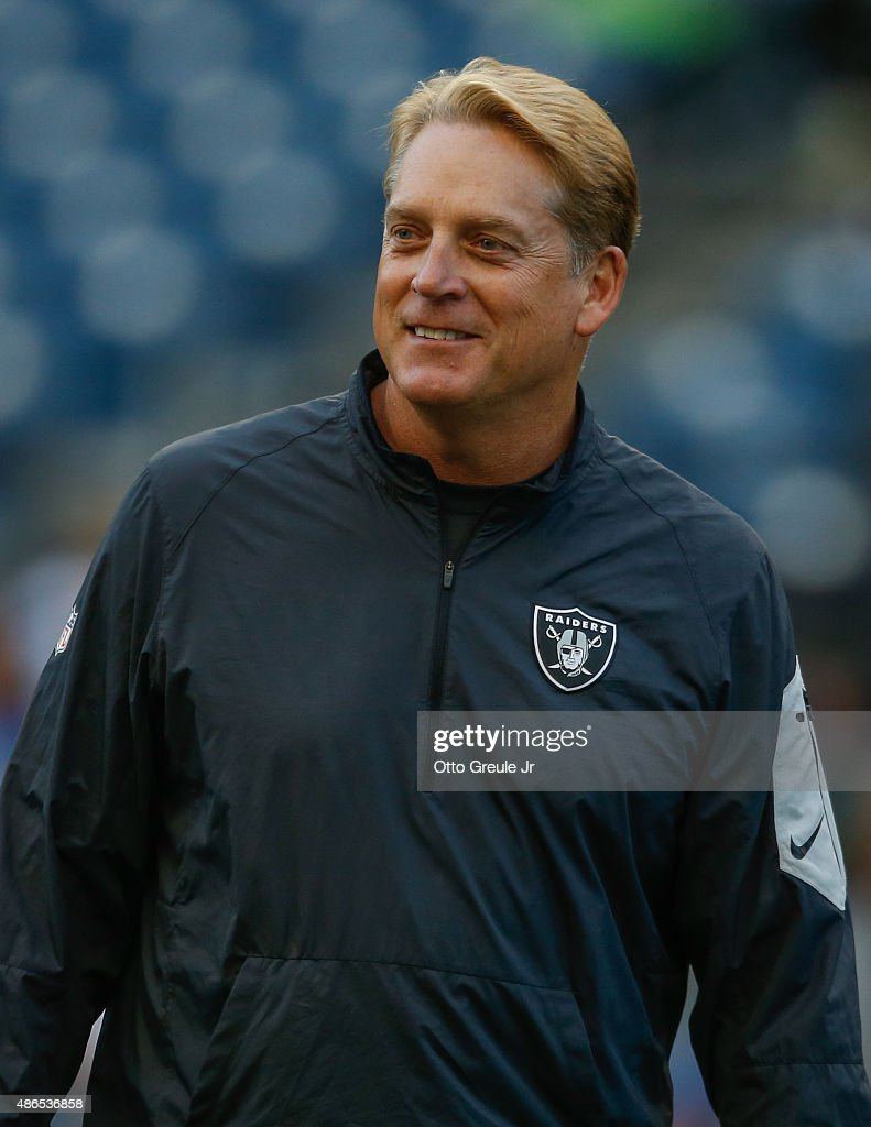 Head coach <a gi-track='captionPersonalityLinkClicked' href=/galleries/search?phrase=Jack+Del+Rio&family=editorial&specificpeople=184508 ng-click='$event.stopPropagation()'>Jack Del Rio</a> of the Oakland Raiders looks on prior to the game against the Seattle Seahawks at CenturyLink Field on September 3, 2015 in Seattle, Washington.