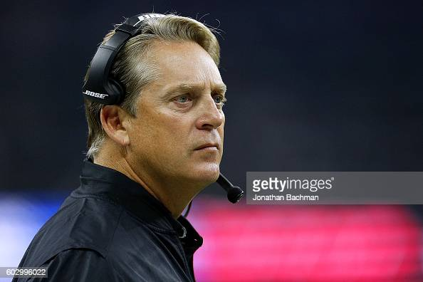 Head coach Jack Del Rio of the Oakland Raiders reacts during the first half of a game against the New Orleans Saints at MercedesBenz Superdome on...