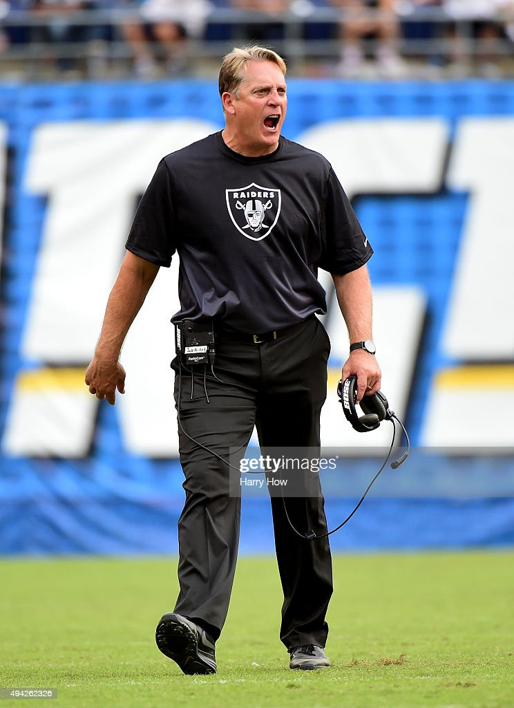 Head coach <a gi-track='captionPersonalityLinkClicked' href=/galleries/search?phrase=Jack+Del+Rio&family=editorial&specificpeople=184508 ng-click='$event.stopPropagation()'>Jack Del Rio</a> of the Oakland Raiders reacts to a call against his team during the fourth quarter against the San Diego Chargers at Qualcomm Stadium on October 25, 2015 in San Diego, California.
