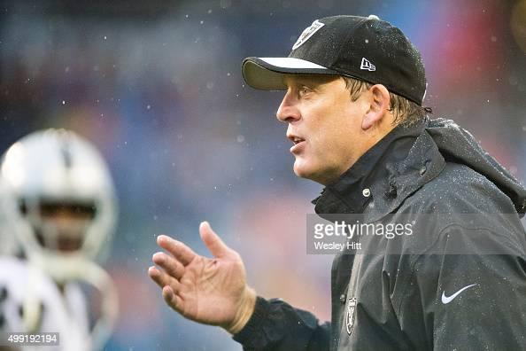 Head Coach Jack Del Rio of the Oakland Raiders talks with a official during a game against the Tennessee Titans at Nissan Stadium on November 29 2015...