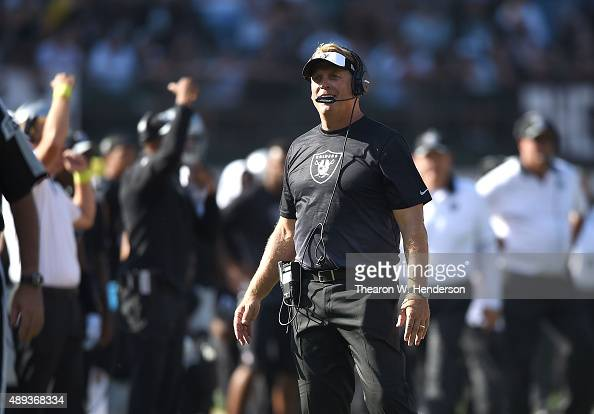 head coach Jack Del Rio of the Oakland Raiders watches the replay in the fourth quarter against the Baltimore Ravens at OaklandAlameda County...