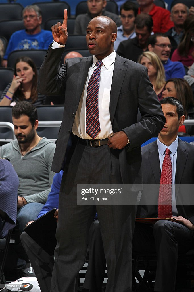 Head Coach <a gi-track='captionPersonalityLinkClicked' href=/galleries/search?phrase=Jacque+Vaughn&family=editorial&specificpeople=201747 ng-click='$event.stopPropagation()'>Jacque Vaughn</a> of the Orlando Magic calls out a play during a game on January 24, 2013 at Amway Center in Orlando, Florida.