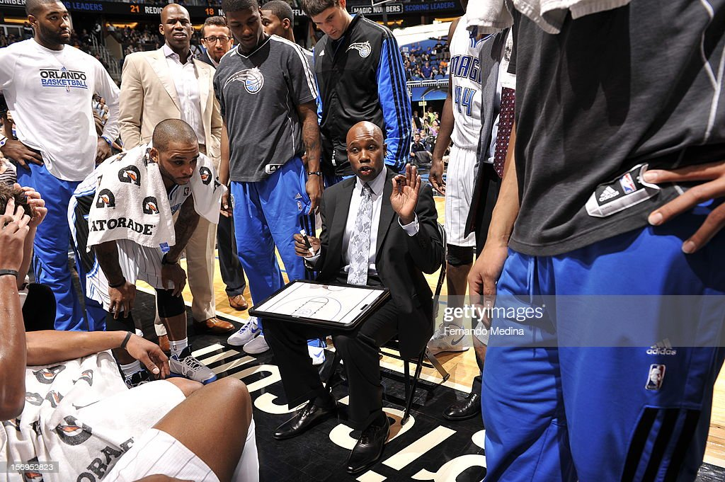 Head Coach Jacque Vaughn of the Orlando Magic directs his team during the game between the Boston Celtics and the Orlando Magic on November 25, 2012 at Amway Center in Orlando, Florida.