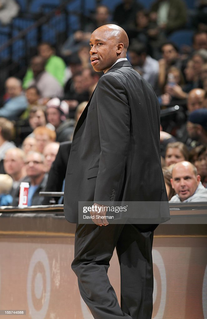 Head Coach Jacque Vaughn of the Orlando Magic looks on during the game between the Minnesota Timberwolves and the Orlando Magic on November 7, 2012 at Target Center in Minneapolis, Minnesota.