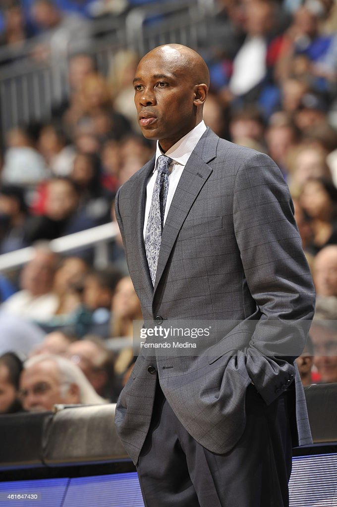 Head Coach <a gi-track='captionPersonalityLinkClicked' href=/galleries/search?phrase=Jacque+Vaughn&family=editorial&specificpeople=201747 ng-click='$event.stopPropagation()'>Jacque Vaughn</a> of the Orlando Magic looks on during the game against the Memphis Grizzlies on January 16, 2015 at Amway Center in Orlando, Florida.