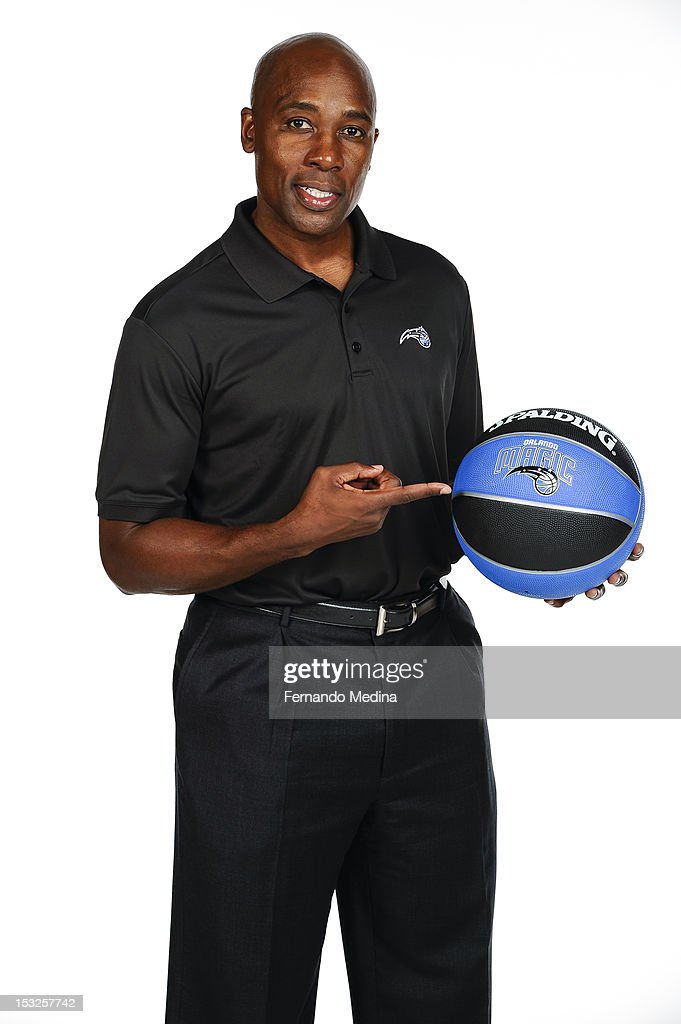 Head Coach <a gi-track='captionPersonalityLinkClicked' href=/galleries/search?phrase=Jacque+Vaughn&family=editorial&specificpeople=201747 ng-click='$event.stopPropagation()'>Jacque Vaughn</a> of the Orlando Magic poses for a portrait during media day on October 1, 2012 at Amway Center in Orlando, Florida.