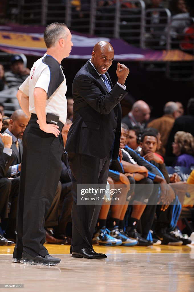 Head coach <a gi-track='captionPersonalityLinkClicked' href=/galleries/search?phrase=Jacque+Vaughn&family=editorial&specificpeople=201747 ng-click='$event.stopPropagation()'>Jacque Vaughn</a> of the Orlando Magic reacts against the Los Angeles Lakers at Staples Center on December 2, 2012 in Los Angeles, California.