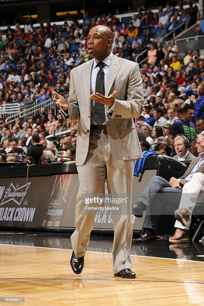 Head Coach <a gi-track='captionPersonalityLinkClicked' href=/galleries/search?phrase=Jacque+Vaughn&family=editorial&specificpeople=201747 ng-click='$event.stopPropagation()'>Jacque Vaughn</a> of the Orlando Magic reacts during the game between the Miami Heat and the Orlando Magic on March 25, 2013 at Amway Center in Orlando, Florida.