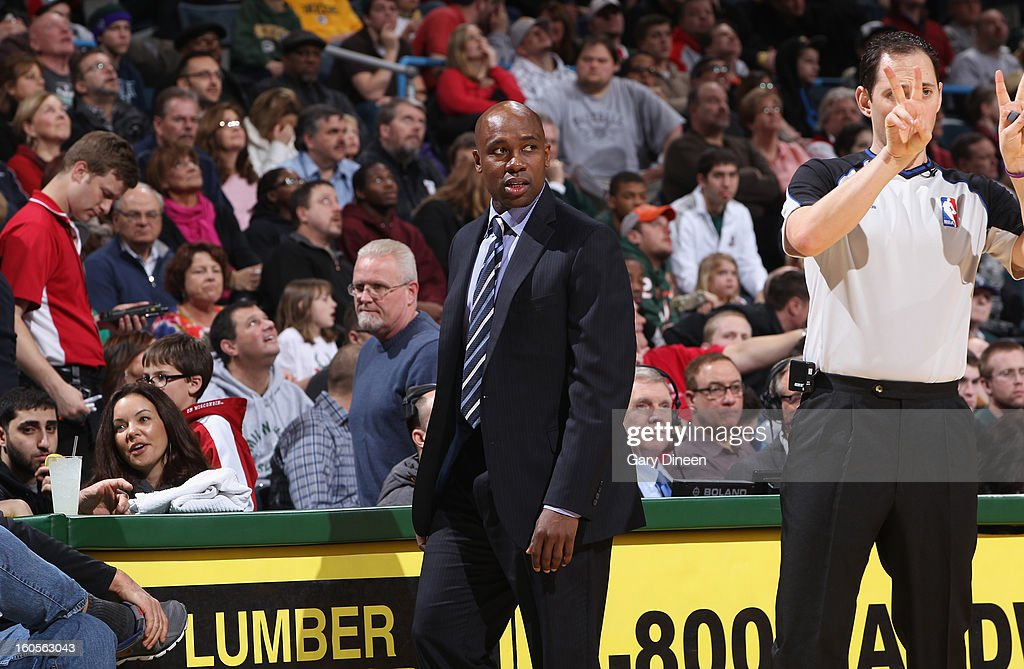 Head Coach Jacque Vaughn of the Orlando Magic stands on the sideline during the game against the Milwaukee Bucks on February 2, 2013 at the BMO Harris Bradley Center in Milwaukee, Wisconsin.