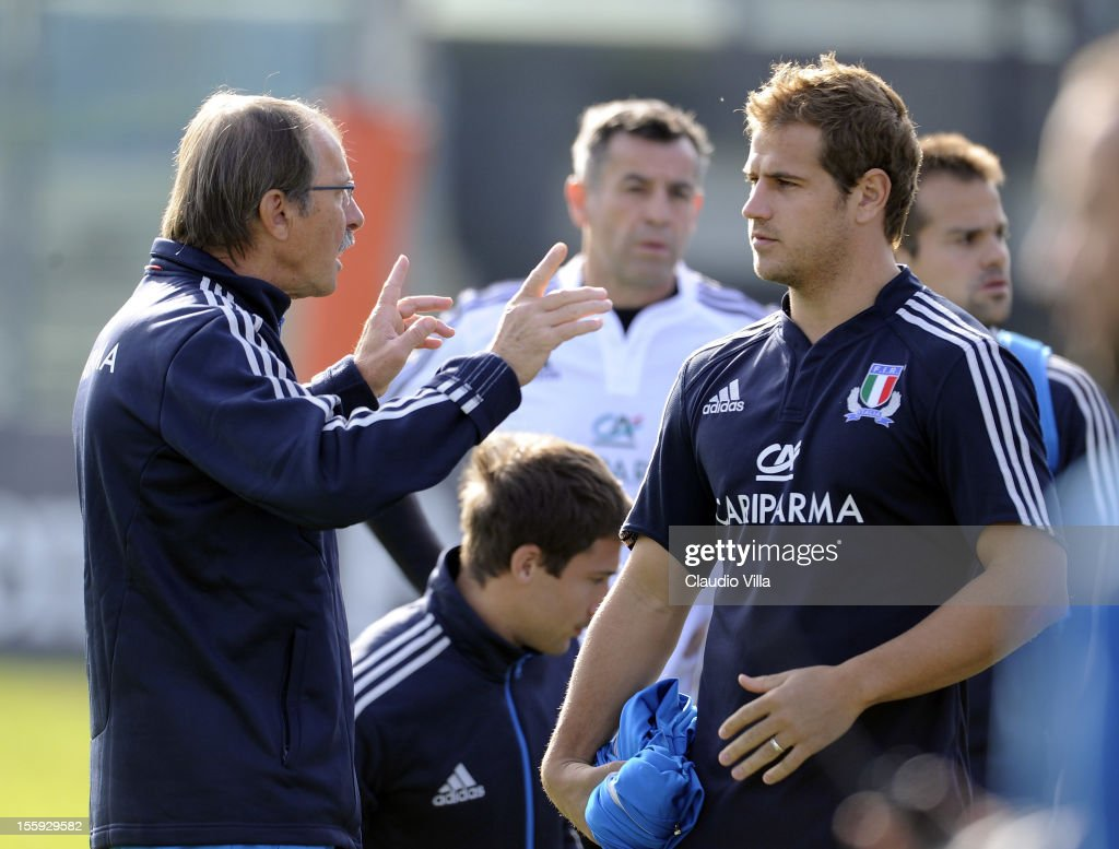 Head coach Jacques Brunel and Tobias Botes (R) during Italy Captain's Run at Mario Rigamonti Stadium on November 9, 2012 in Brescia, Italy.