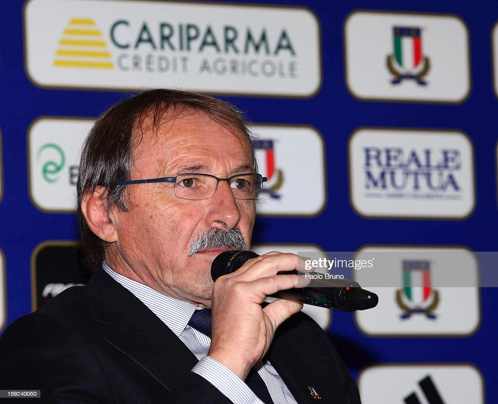 FIR head coach <a gi-track='captionPersonalityLinkClicked' href=/galleries/search?phrase=Jacques+Brunel&family=editorial&specificpeople=557558 ng-click='$event.stopPropagation()'>Jacques Brunel</a> attends an Italian Rugby Federation press conference ahead of 2012 RBS Six Nationsat Stadio Olimpico on January 10, 2013 in Rome, Italy.
