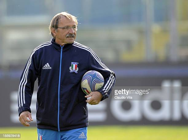 Head coach Jacques Brunel during Italy Captain's Run at Mario Rigamonti Stadium on November 9 2012 in Brescia Italy