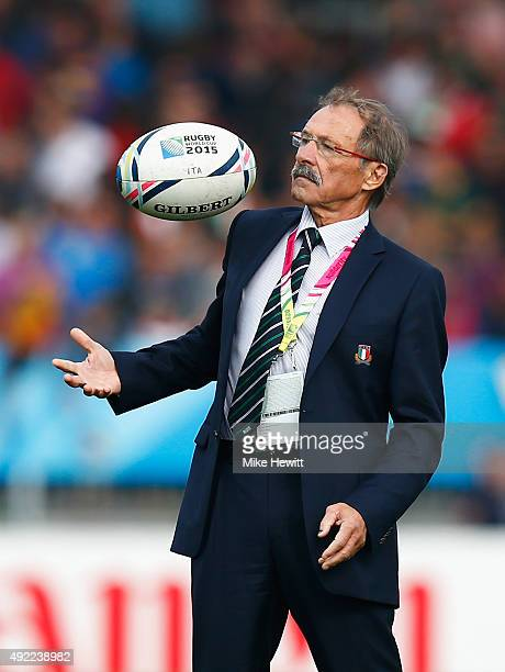 Head Coach Jacques Brunel of Italy catches the ball prior to the 2015 Rugby World Cup Pool D match between Italy and Romania at Sandy Park on October...