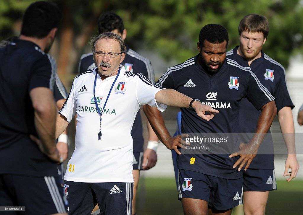 Head coach Jacques Brunel of Italy during a training session on October 22, 2012 in Rome, Italy.
