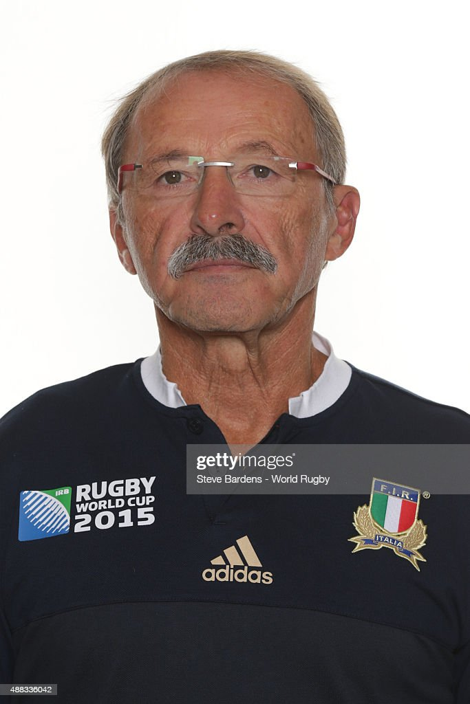 Head coach <a gi-track='captionPersonalityLinkClicked' href=/galleries/search?phrase=Jacques+Brunel&family=editorial&specificpeople=557558 ng-click='$event.stopPropagation()'>Jacques Brunel</a> of Italy poses during the Italy Rugby World Cup 2015 squad photo call at the Radisson Blu on September 15, 2015 in Guildford, England.