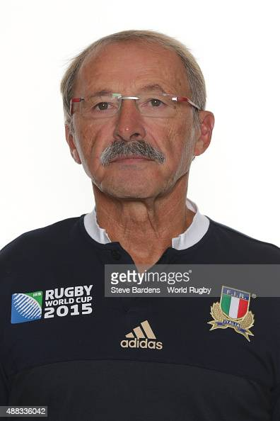 Head coach Jacques Brunel of Italy poses during the Italy Rugby World Cup 2015 squad photo call at the Radisson Blu on September 15 2015 in Guildford...