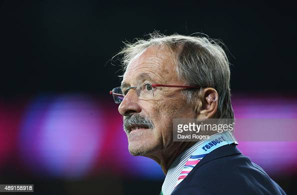 Head coach Jacques Brunel of Italy watches his side warm up ahead of the 2015 Rugby World Cup Pool D match between France and Italy at Twickenham...