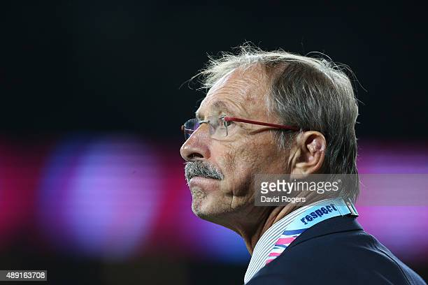 Head coach Jacques Brunel of Italy watches the action during the 2015 Rugby World Cup Pool D match between France and Italy at Twickenham Stadium on...