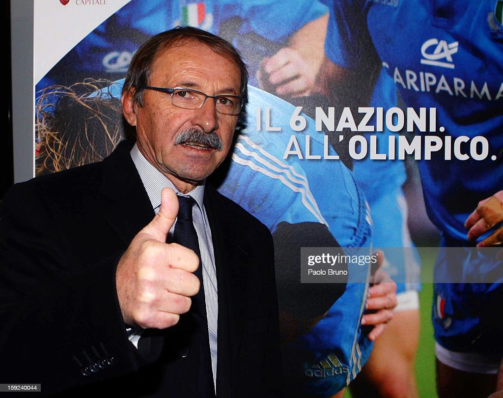 FIR head coach <a gi-track='captionPersonalityLinkClicked' href=/galleries/search?phrase=Jacques+Brunel&family=editorial&specificpeople=557558 ng-click='$event.stopPropagation()'>Jacques Brunel</a> poses before the Italian Rugby Federation press conference ahead of 2012 RBS Six Nationsat Stadio Olimpico on January 10, 2013 in Rome, Italy.