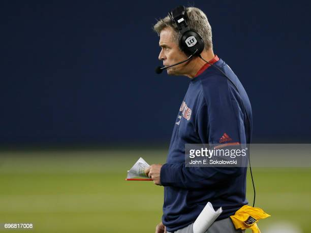 Head coach Jacques Chapdelaine of the Montreal Alouettes during a CFL preseason game against the Toronto Argonauts at BMO field on June 8 2017 in...